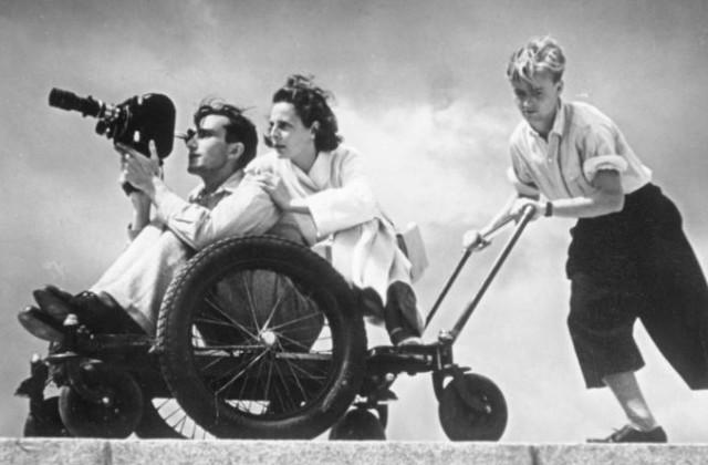 Лени Рифеншталь на съемках фильма «Олимпия»