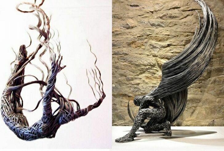 Скульптуры из проволоки от британского мастера.