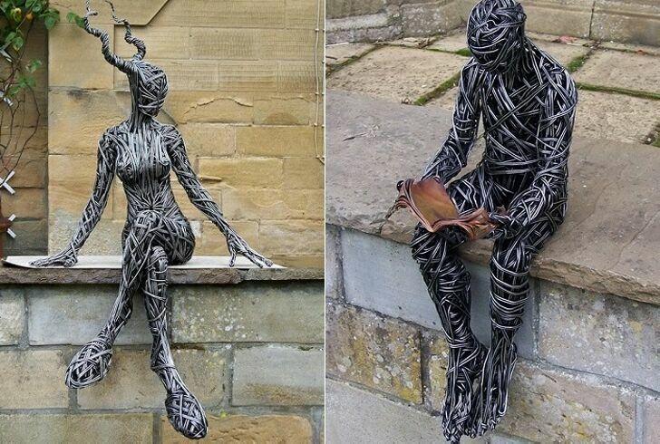 Динамичная скульптура из проволоки.