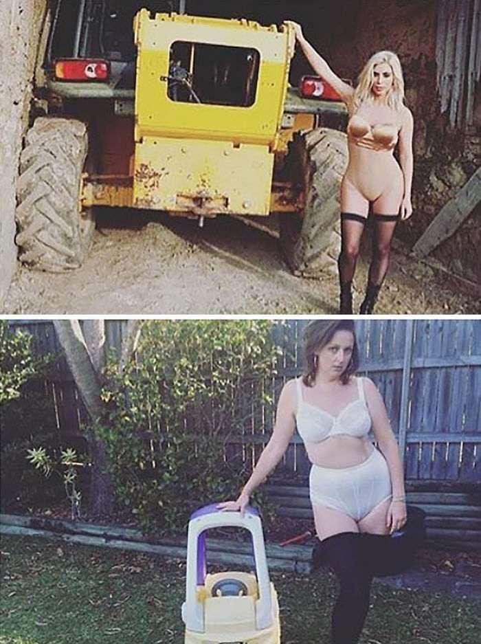 От красивого до комичного один кадр - женщина, подражает популярным фотографиям из инстаграм